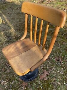 Vintage Antique Industrial Wooden Child's School Desk Chair Metal Base Boston