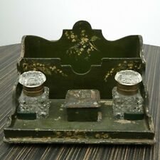 c1880 Antique French Painted Wood Ink Stand with Polished Glass Inkwells