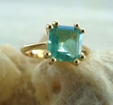 Genuine 1.90 ct Solitaire Natural Colombian  Emerald Ring  18k Yellow Gold