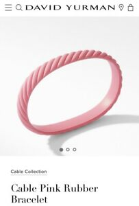 DAVID YURMAN Pink Rubber Breast Cancer Bracelet Medium Brand New With Pouch