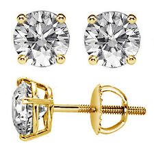 0.50 CT 100% Natural Round-Cut Diamond Stud Earrings 14k Yellow Gold G/H SI New