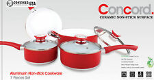 CONCORD 7 PC Eco Friendly Ceramic Nonstick Cookware Set. Dutch Oven Fry Pan