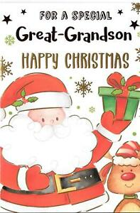 CHRISTMAS CARD FOR A SPECIAL GREAT GRANDSON - SANTA, REINDEER, PRESENT