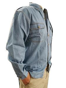 Blue pacific Denim Shirt long sleeve 100% cotton stonewash with pocket B295/296