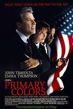 PRIMARY COLORS MOVIE POSTER DS 27X40 JOHN TRAVOLTA EMMA THOMPSON 1998