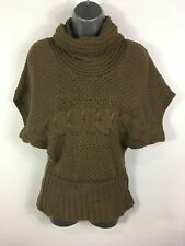 WOMENS JANE NORMAN BROWN ROLL NECK SHORT SLEEVE JUMPER SWEATER PULLOVER UK 10