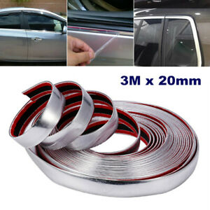 3Mx20mm Car Chrome DIY Moulding Trim Strip For Body Grille Window Door Bumper