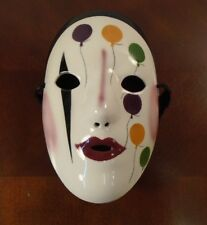 Fancy Faces Mardi Gras Porcelain Mask New Orleans Kings & Clowns Balloons Signed
