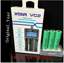 Combo 3 Samsung 25R 18650 2500mAh Rechargeable Battery & Xtar Vc2 Charger