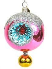 Christopher Radko Gemfires Gemfire Pink Triple Indent Christmas Ornament Signed