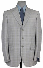 NWT_GIANLUCA BY ISAIA_HAND_FINISHED_SUPER 120 GRAY & LAVENDR GLENPLAID 42R 12451
