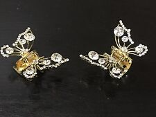 New 2 butterfly hair clips in gold colour with crystal rhinestones