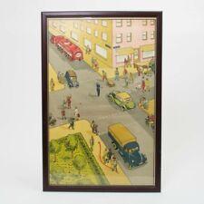 "VTG 1950s Esso Gas German City Auto Traffic Safety Scene Poster Framed 39"" x 25"""