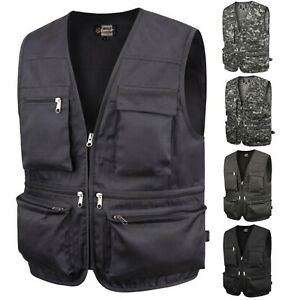 Mens Sports Utility Vest Multi Pockets Fishing Hunting Hiking Work Wear W04 S-XL