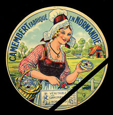 French Cheese label Vintage Camembert Normandie - France