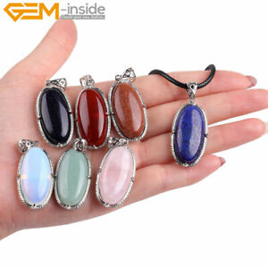 """Assorted Gemstones Oval Pendant Leather Necklace 18"""" Reiki Healing Jewelry Gift"""