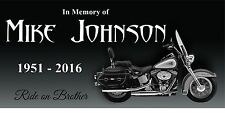 """Personalized Stone Memorial Engraved Headstone 6""""x12 Human marker motorcycle"""