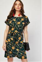 Ladies Gold Chain Print Green Slip Dress Crepe New Plus Sizes 8 10 12 14 16 18
