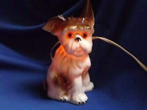 RARE OLD German Porcelain Terrier Perfume Lamp / Night Light Working Excellent