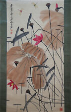 """RARE Chinese 100% Handed Scroll & Painting """"Lotus"""" By Qi baishi 齐白石 SYZWEDTBV"""