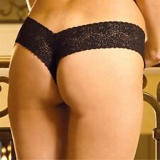 Lace v Shape Panty New Adult Womens Sexy Valentine Ligerie Black Small Size