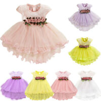 Toddler Baby Kids Girls Fashion Flowers Floral Tulle Ruched Princess Dress Cloth