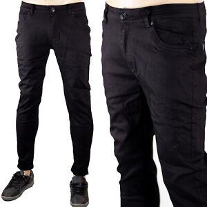 Pantaloni Uomo SlimFit Elastici Jeans no Strappi Skinny Aderenti Semplice Nero