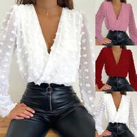 Women's Deep V Neck Sheer Polka Dot Blouse Top Long Sleeve Casual Tee Shirts XL