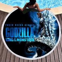 HOT!! Godzilla Monster Logo Beach Towel Circle Yoga Mat Large Round Beach Blank