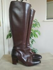 Vintage Bally Size 3 36 Brown Leather Knee High Boots Excellent Condition