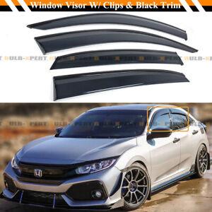 FOR 16-21 HONDA CIVIC 5DR HATCHBACK BLACK TRIM WINDOW VISOR RAIN GUARD W/ CLIPS