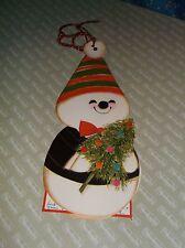 "ksm. Vintage Hallmark Christmas Card Snowman Hole for Hanging 8"" H w/o String"