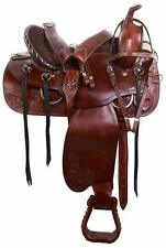 Premium Leather Ranch Pleasure/Trail Barrel Racing Western Ranch Horse Saddle .