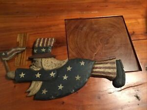 Uncle Sam Wall Carved Wood Primitive Folk Art Patriotic Signed J.Casper
