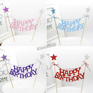 Happy Birthday Bunting Banner Cake Flag Little Star Decor Cake Topper for Party