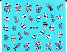 Nail Art 3D Glitter Decal Stickers Dragonflies Flowers w/ Sparkle Leaves SMY241