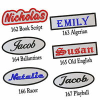 "Custom Embroidered Name Patch 4""-5"" Iron on Tag Rectangular Oval Freehand White"