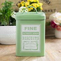 Retro Biscuit Barrel Cookie Jar Storage Tin Green Canister Kitchen Accessories