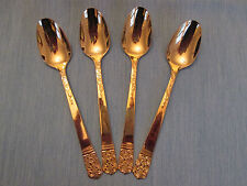 SET 4 TEA SPOONS! Vintage LIFETIME CUTLERY stainless: GOLD LCU7 pattern: EXC!