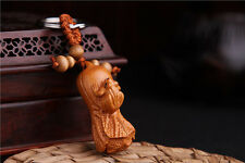 Wood 3D Carving Chinese Cabbage Frog Statue Sculpture Pendant Key Chain