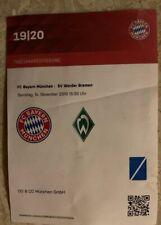 Used Sammler Ticket FC Bayern München vs Werder Bremen BL 14.12.19 Arbeitskarte