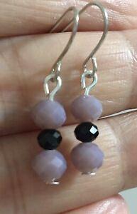 Small 6mm Purple Black Crystal Silver Dangle Earrings Stainless Steel Hooks!