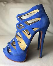 Christian Louboutin Balota 150 Blue Lilac Suede Sandals Pumps Euro 37 / US 7