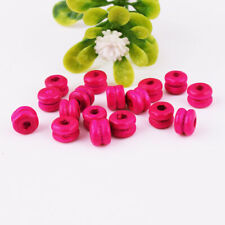 300ps Rose red Wood Round Double layer Spacer Beads DIY Jewelry Findings Craft