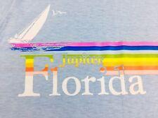 Vintage Jupiter Florida Shirt 1980s Baby Blue Beach Surfer Velva Sheen 50/50 S