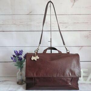 """RADLEY """"Border"""" X Large Work Laptop Shoulder Grab Briefcase Bag Brown Leather"""