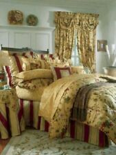 "WAVERLY ""CHIANTI"" ANTIQUE GOLD KING COMFORTER & 2 SHAMS - GOLD/GREEN/RED - EUC"