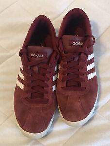 Adidas Women's Courtset Sneaker Size 7.5 Burgundy White Suede CG5819 EUC!