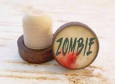 Zombie Wine Stopper, Halloween Bottle Stopper, Dark Wood Cork Bottle Stopper