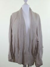NEXT beige 100% lambswool waterfall cardigan w roll up sleeves size 14 euro 42